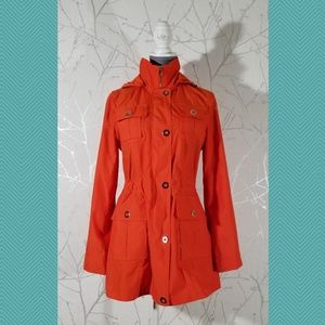 London Fog Orange Full Zip Cinched Waist Raincoat